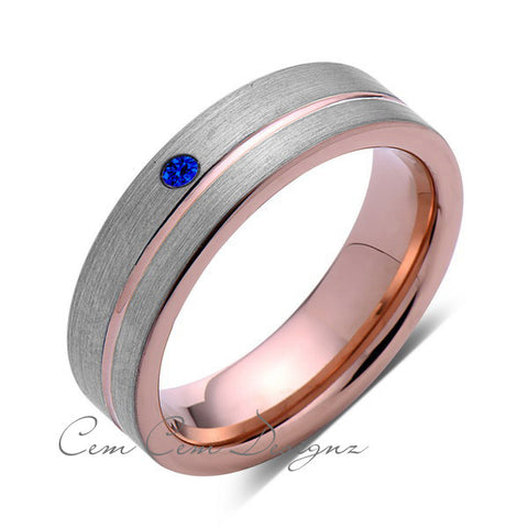 6mm,Mens,Blue Sapphire Ring,Brushed,Rose Gold,Tungsten Ring,Rose Gold,Wedding Band,Comfort Fit - LUXURY BANDS LA