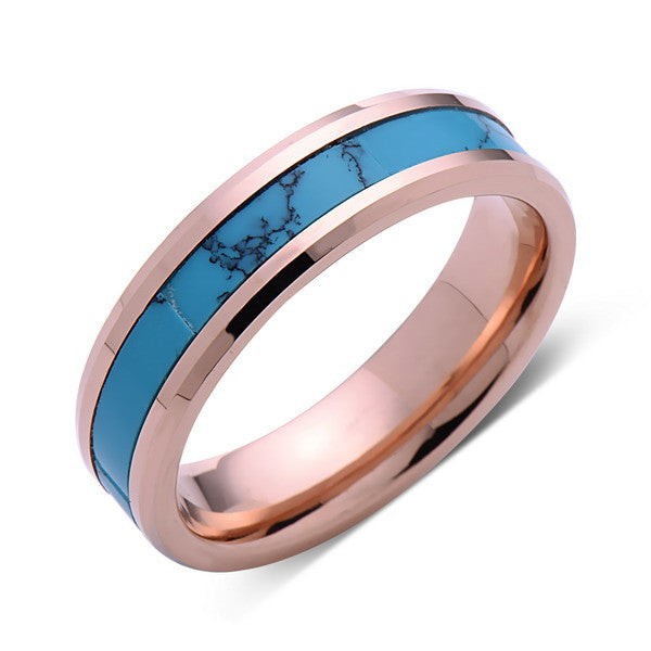 Turquoise Inlay Tungsten Ring - Rose Gold Tungsten Band - Turquoise Wedding Band - 6mm - Mens - Comfort Fit - LUXURY BANDS LA