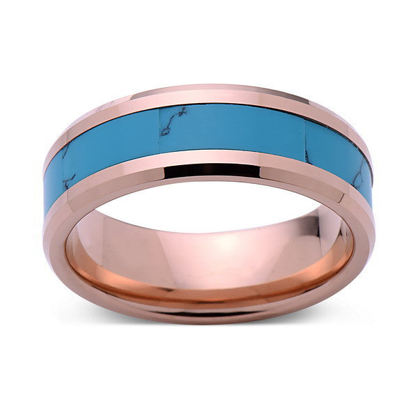 Turquoise Inlay Tungsten Ring - Rose Gold Tungsten Band - Turquoise Wedding Band - 8mm - Mens - Comfort Fit - LUXURY BANDS LA