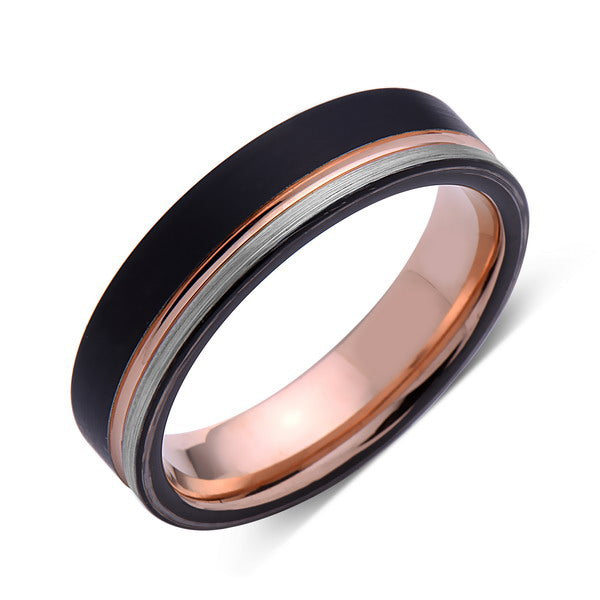 Rose Gold Tungsten Wedding Band - Black and Gray Brushed Tungsten Ring - 6mm - Mens Ring - Tungsten Carbide - Engagement Band - Comfort Fit