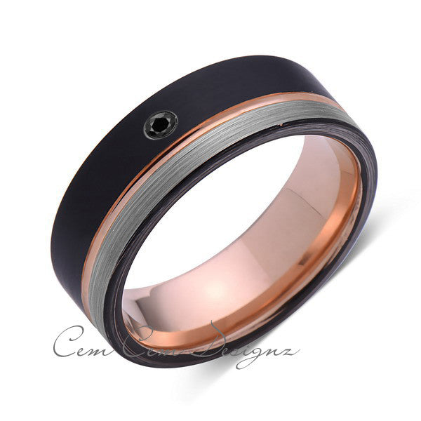 8mm,Mens,Black Diamond,Gray,Black,Brushed,Rose Gold,Tungsten Ring,Rose Gold,Wedding Band,Comfort Fit - LUXURY BANDS LA