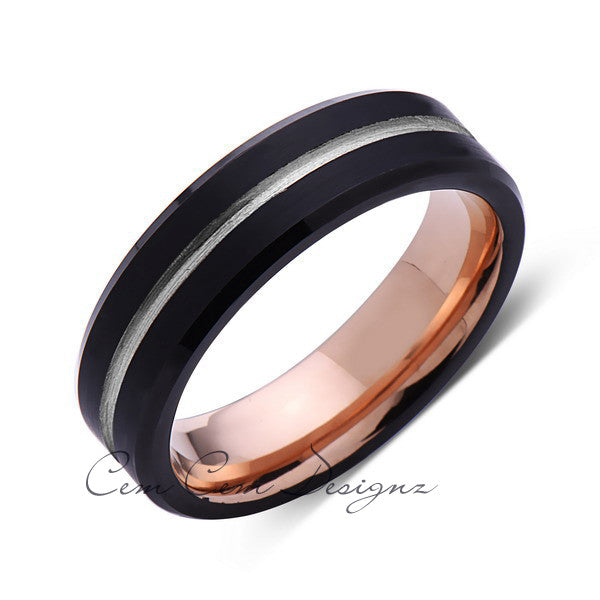 Rose Gold Tungsten Wedding Band - Black Groove Brushed Ring - 6mm Ring - Unique Engagment Band - Comfor Fit - LUXURY BANDS LA
