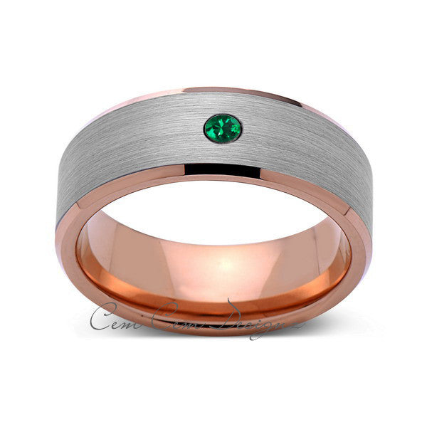 8mm,Mens,Green Emerald,Rose Gold,Wedding Band,,Gray,Brushed,Rose Gold,Birthstone,Tungsten Ring,Comfort Fit - LUXURY BANDS LA