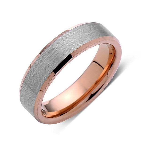 Rose Gold Tungsten Wedding Band - Gray Brushed Tungsten Ring - 6mm - Tungsten Carbide - Mens Band - Engagement Band - Comfort Fit - LUXURY BANDS LA