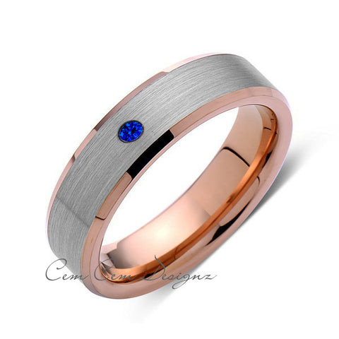 6mm,Mens,Blue Sapphire,Rose Gold,Wedding Band,,Gray,Brushed,Rose Gold,Birthstone,Tungsten Ring,Comfort Fit - LUXURY BANDS LA