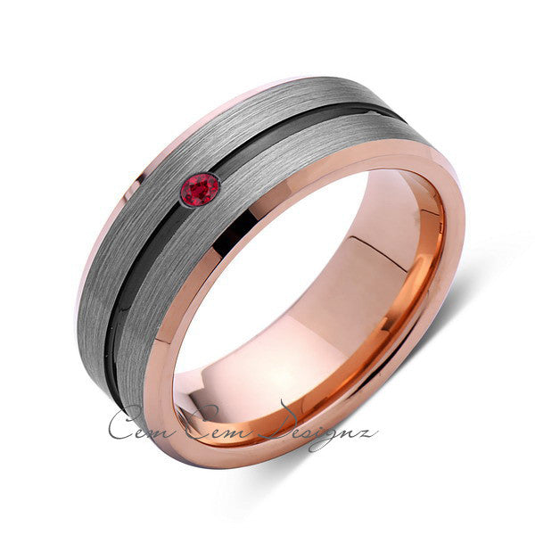 8mm,Mens,Red Ruby,Gray,Black,Brushed,Rose Gold,Tungsten Ring,Rose Gold,Wedding Band,Birthstone,Comfort Fit - LUXURY BANDS LA