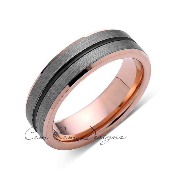Rose Gold Tungsten Wedding Band - Gray Brushed Tungsten Ring - 6mm - Mens Ring - Tungsten Carbide - Engagement Band - Comfort Fit - LUXURY BANDS LA