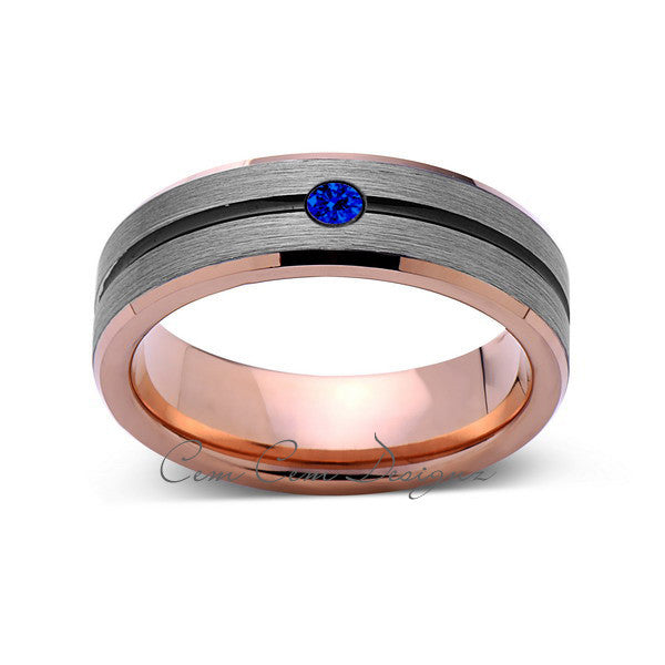 6mm,Mens,Blue Sapphire,Gray,Black,Brushed,Rose Gold,Tungsten Ring,Rose Gold,Wedding Band,Comfort Fit - LUXURY BANDS LA