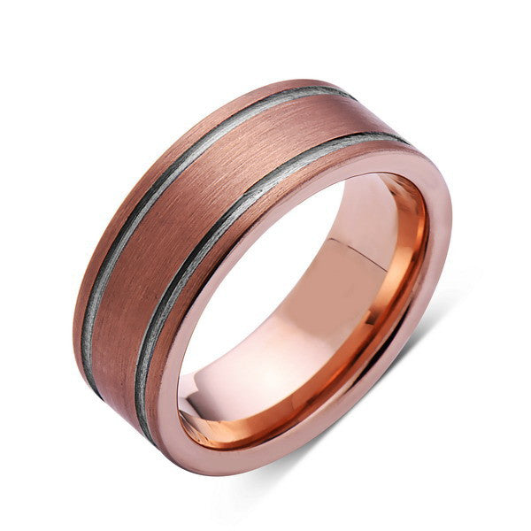 Brushed Rose Gold Tungsten Wedding Band - Tungsten Ring - 8mm - Pipe Cut - Mens Ring - Tungsten Carbide - Engagement Band - Comfort Fit - LUXURY BANDS LA