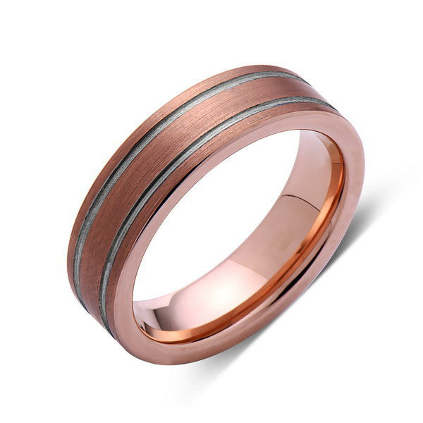 Brushed Rose Gold Tungsten Wedding Band - Tungsten Ring - 6mm - Pipe Cut - Mens Ring - Tungsten Carbide - Engagement Band - Comfort Fit - LUXURY BANDS LA