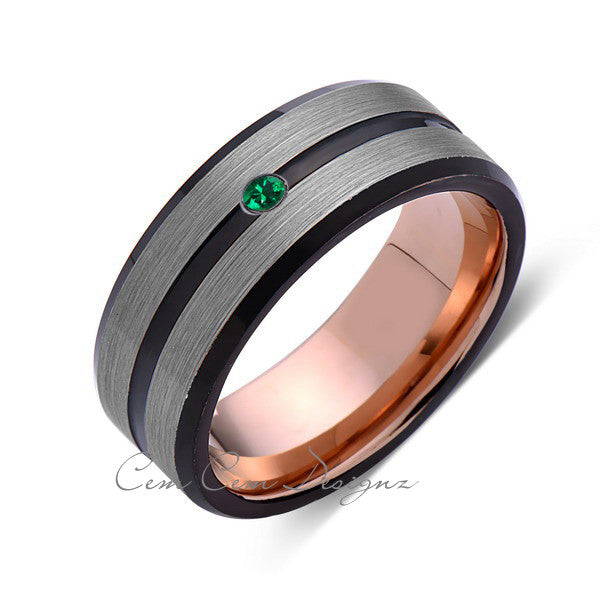 8mm Mens Green Emerald Gray Black Brushed Rose Gold Tungsten Ring