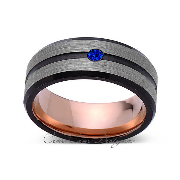 8mm,Mens,Blue Sapphire,Gray,Black,Brushed,Rose Gold,Tungsten Ring,Rose Gold,Wedding Band,Comfort Fit - LUXURY BANDS LA