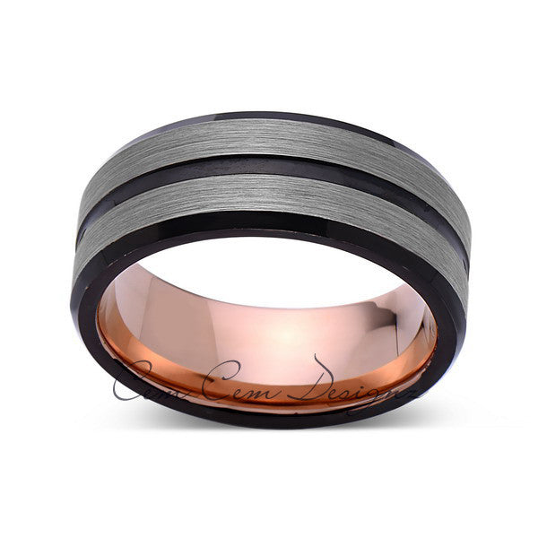 Rose Gold Tungsten Wedding Band - Black Groove - Gray Brushed Ring - 8mm Ring - Unique Engagment Band - Comfor Fit - LUXURY BANDS LA