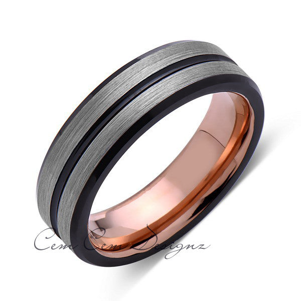Rose Gold Tungsten Wedding Band - Black Groove - Gray Brushed Ring - 6mm Ring - Unique Engagment Band - Comfor Fit - LUXURY BANDS LA