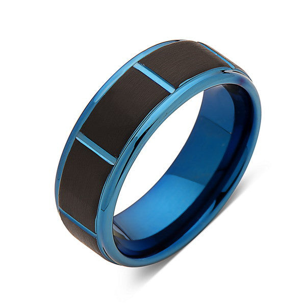 Blue Tungsten Wedding Band - Black Brushed Tungsten Ring - 8mm - Mens Ring - Tungsten Carbide - Engagement Band - Comfort Fit - LUXURY BANDS LA