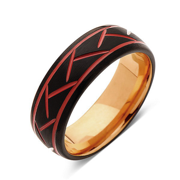 Red Tungsten Wedding Band - Rose Gold - Black Brushed Tungsten Ring - 8mm - Mens Ring - Tungsten Carbide - Engagement Band - Comfort Fit