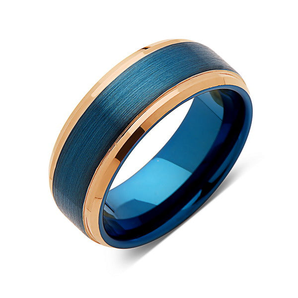 Blue Tungsten Wedding Band - Rose Gold - Stepped Edges - Brushed Tungsten Ring - 8mm - Mens Ring - Tungsten Carbide - Unique - Engagement Band - Comfort Fit - LUXURY BANDS LA