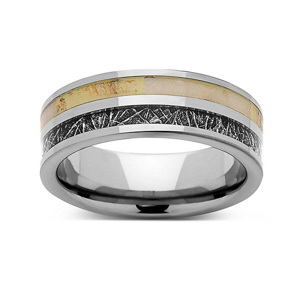 Meteorite Tungsten Wedding Band - Deer Antler Ring - 8mm Ring - Unique Engagement Band - Comfort Fit - LUXURY BANDS LA