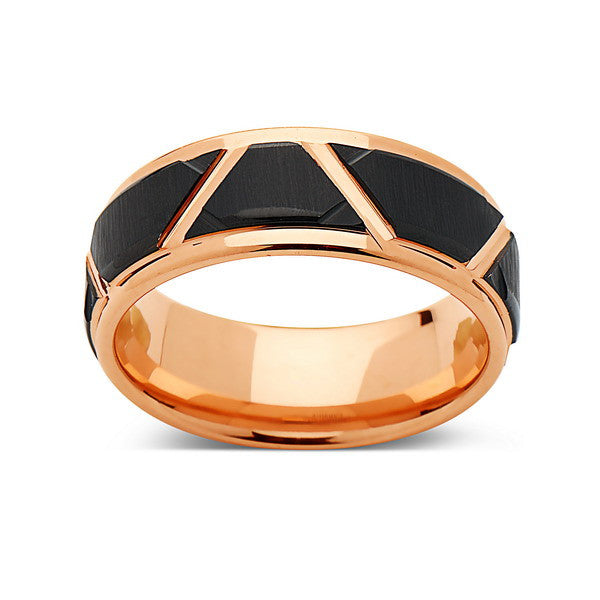 Rose Gold Tungsten Wedding Wedding Band - Unique - 8MM - Tungsten Carbide Ring - Black Brushed Ring - Comfort Fit - LUXURY BANDS LA
