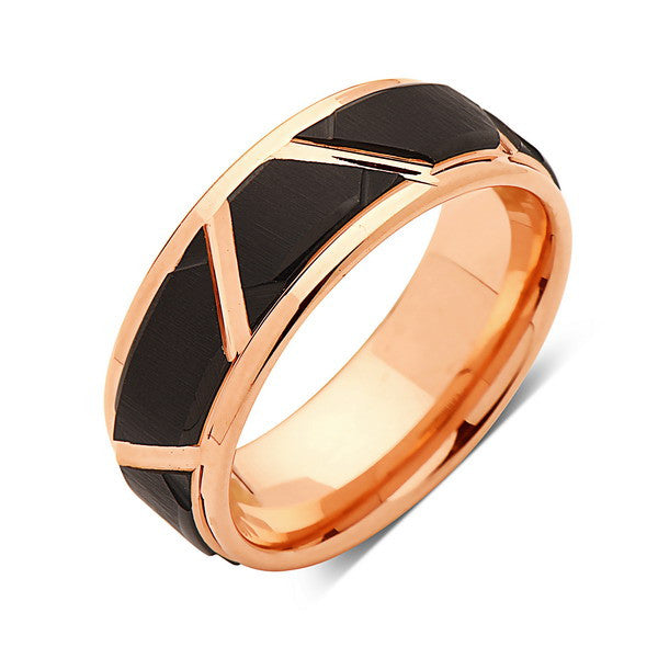 Rose Gold Tungsten Wedding Wedding Band - Unique - 8MM - Tungsten Carbide Ring - Black Brushed Ring - Comfort Fit