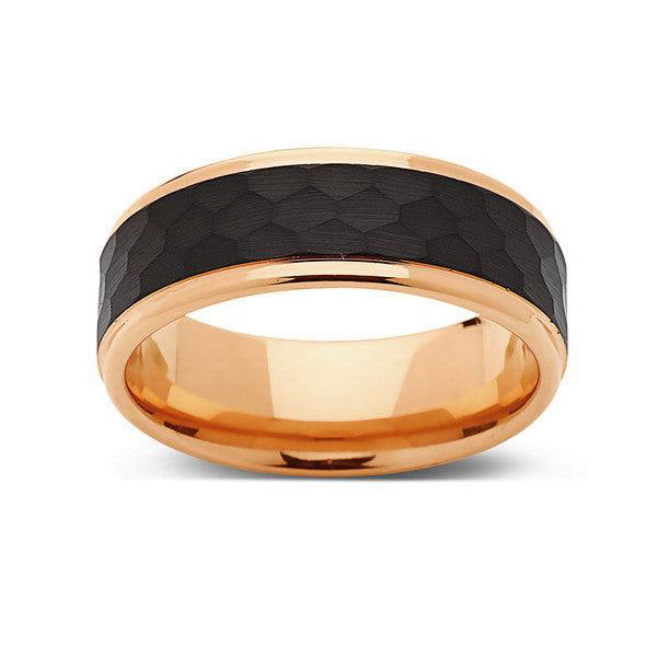 Rose Gold Tungsten Wedding Band - Hammered Engagement Ring -  Black Brushed 8mm Ring - Unique Engagement Band - Comfort Fit