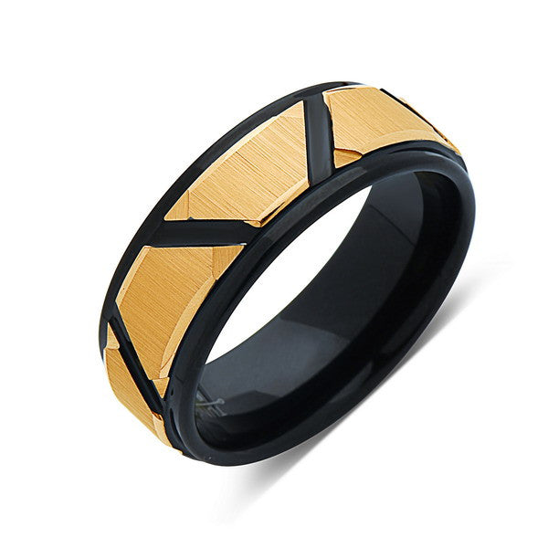 Yellow Gold Tungsten Wedding Wedding Band -Black RIng - Unique - 8MM - Tungsten Carbide Ring - Black Brushed Ring - Comfort Fit
