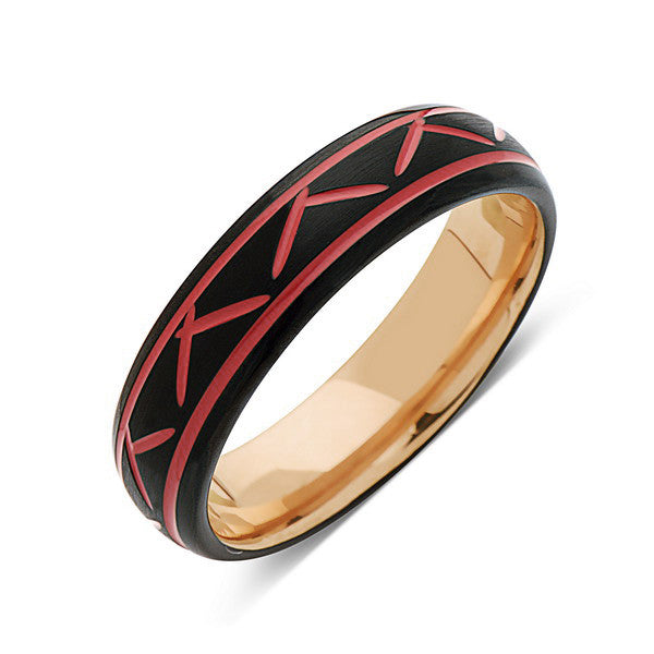 Red Tungsten Wedding Band - Rose Gold - Black Brushed Tungsten Ring - 6mm - Mens Ring - Tungsten Carbide - Engagement Band - Comfort Fit - LUXURY BANDS LA