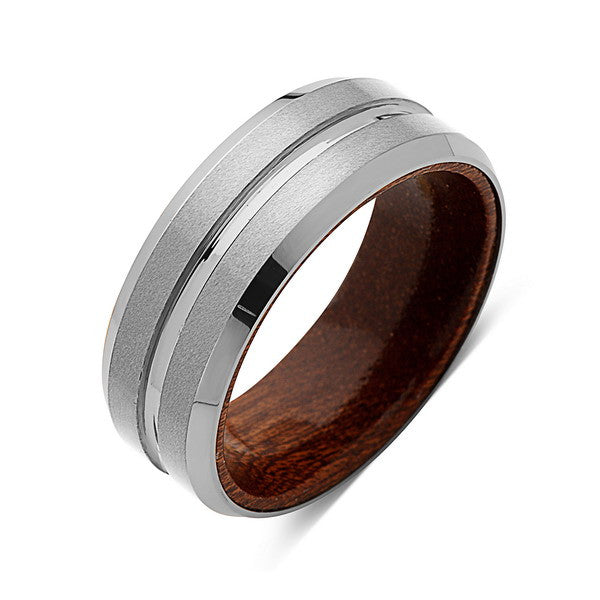 Koa Wood Wedding Ring - Brushed Gray Tungsten Band - Hawaiian Koa Wood - 8mm - Mens - Comfort Fit - LUXURY BANDS LA