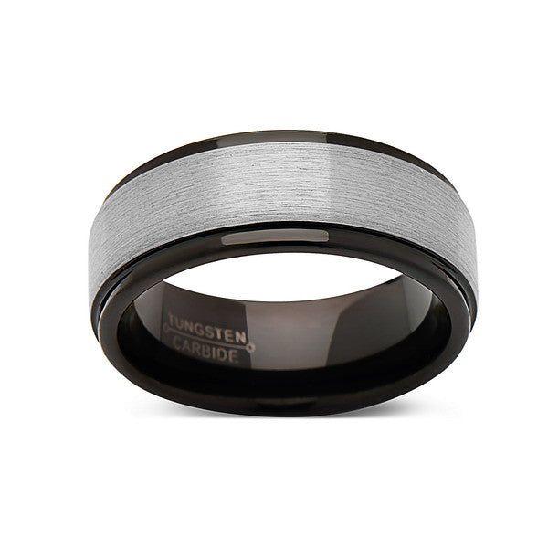 Gray Brushed Tungsten Wedding Band - Black Tungsten Ring - 8mm Ring - New Engagement Band - Comfort Fit - LUXURY BANDS LA