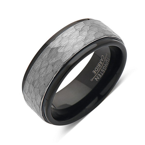 Hammered Wedding Band - Gray Brushed Tungsten Ring -  Black Tungsten Carbide - 8mm Ring - Unique Engagement Band - Comfor Fit