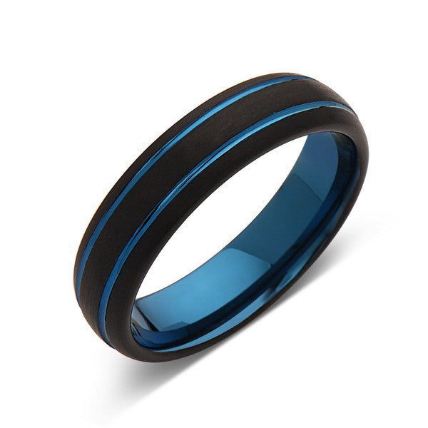 Blue Tungsten Wedding Band - Black Brushed Tungsten Ring - 6mm - Mens Ring - Tungsten Carbide - Engagement Band - Comfort Fit - LUXURY BANDS LA