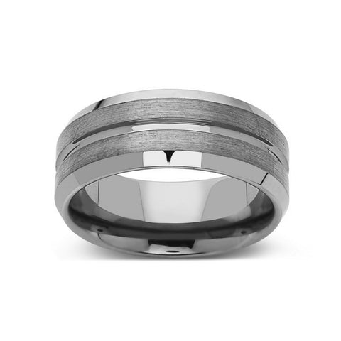 Gray Brushed Tungsten Ring - Gunmetal - 8mm - High Polish Beveled Edge - Mens Ring - LUXURY BANDS LA