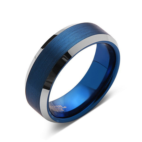 Blue Tungsten Wedding Band - Silver Brushed Tungsten Ring - 8mm - Mens Ring - Tungsten Carbide - Engagement Band - Comfort Fit - LUXURY BANDS LA