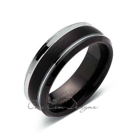 8mm,New,Unique,Black Brushed,Tungsten Rings,Wedding Band,Matching band,Comfort Fit - LUXURY BANDS LA
