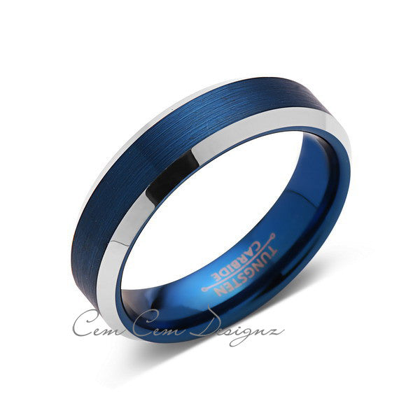 Blue Tungsten Wedding Band - Silver Brushed Tungsten Ring - 6mm - Mens Ring - Tungsten Carbide - Engagement Band - Comfort Fit - LUXURY BANDS LA
