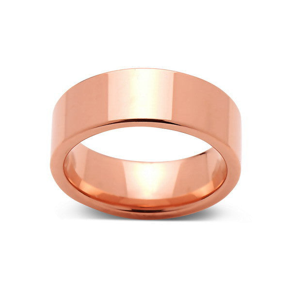 Rose Gold Tungsten Wedding Band - Rose Gold High Polish Tungsten Ring - 8mm - Pipe Cut  - Tungsten Carbide - Engagement Band - Comfort Fit - LUXURY BANDS LA