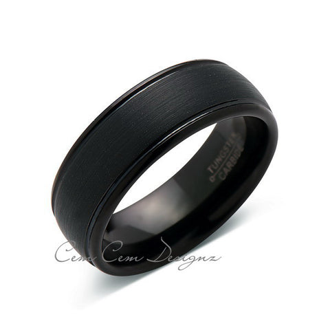 8mm,New,Unique,Black Gun Metal Brushed,Tungsten Rings,Wedding Band,Matching,Comfort Fit - LUXURY BANDS LA