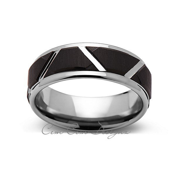 8mm,New,Unique,High Polish Gray,Black Brushed Tungsten Men's Band,Wedding Band,Comfort Fit - LUXURY BANDS LA