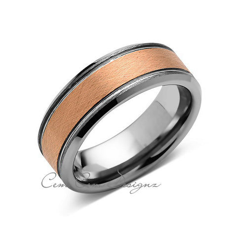 8mm,New,Unique,Brushed Rose Gold, Rings,Wedding Band,Pipe Cut,Unisex,Comfort Fit - LUXURY BANDS LA