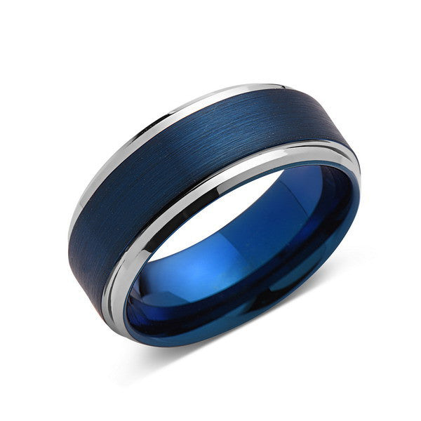 Blue Tungsten Wedding Band Silver Brushed Tungsten Ring