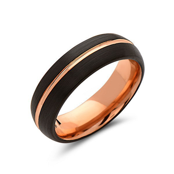 Rose Gold Tungsten Wedding Band - Black - Rose Groove Brushed Ring - 6mm - Dome Ring - Unique - Engagment Band - Comfort Fit - LUXURY BANDS LA