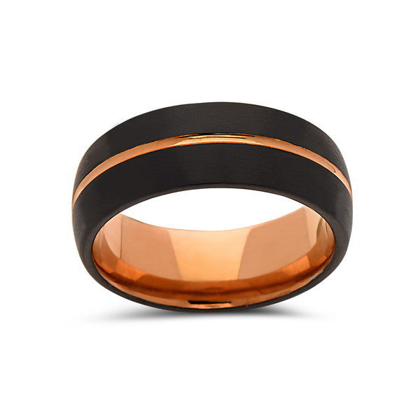 Rose Gold Tungsten Wedding Band - Black - Rose Groove Brushed Ring - 8mm - Dome - Unique - Engagement Band - Comfort Fit - LUXURY BANDS LA