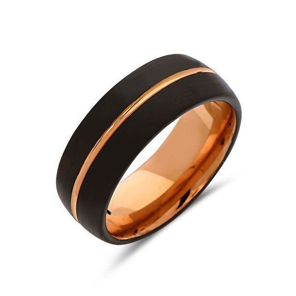 Rose Gold Tungsten Wedding Band - Black - Rose Groove Brushed Ring - 8mm Dome Ring - Unique Engagment Band - Comfor Fit - LUXURY BANDS LA