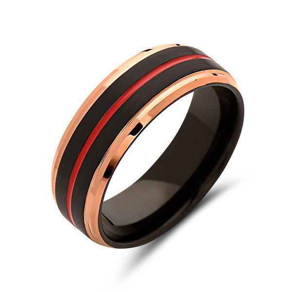Red Tungsten Wedding Band - Rose Gold Ring - Black Brushed Tungsten Carbide - 8mm - Mens Ring - Tungsten Carbide - Engagement Band - LUXURY BANDS LA