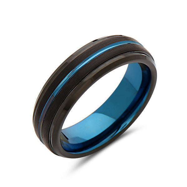 Blue Tungsten Wedding Band - Black Brushed Tungsten Ring - 6mm - Stepped- Mens Ring - Tungsten Carbide - Engagement Band - Comfort Fit - LUXURY BANDS LA