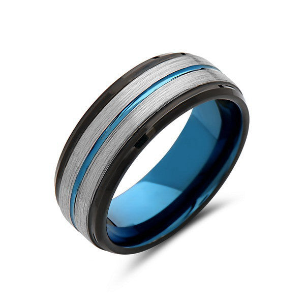 Blue Tungsten Wedding Band - Gray Brushed Tungsten Ring - 8mm - Stepped- Mens Ring - Tungsten Carbide - Engagement Band - Comfort Fit - LUXURY BANDS LA