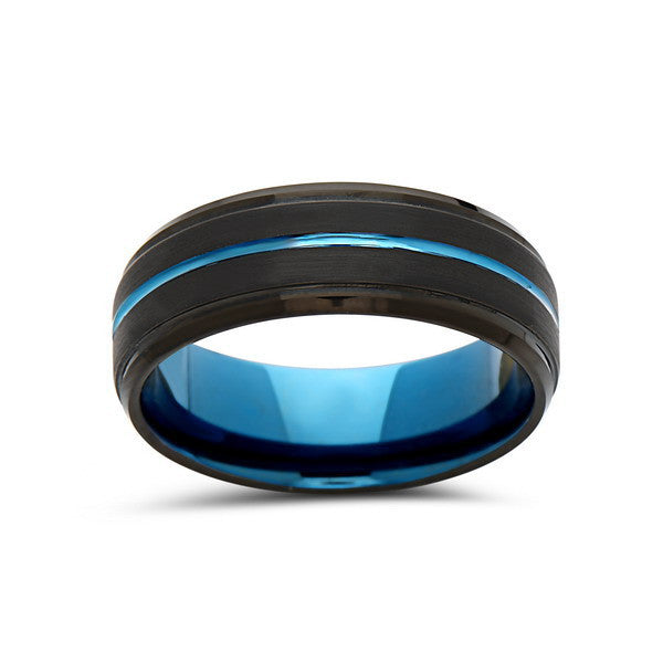 Blue Tungsten Wedding Band - Black Brushed Tungsten Ring - 8mm - Stepped- Mens Ring - Tungsten Carbide - Engagement Band - Comfort Fit - LUXURY BANDS LA