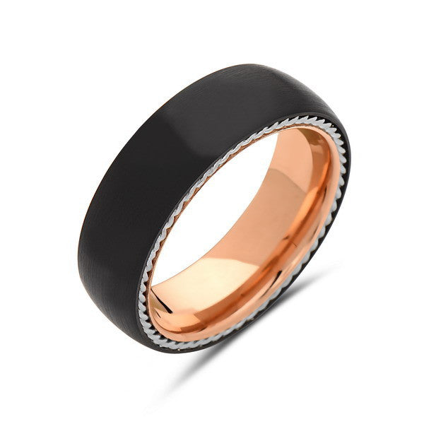 Rose Gold Tungsten Wedding Band - New Black Brushed Ring - 8mm Ring - Unique Engagment Band - Silver Rope - Comfort Fit