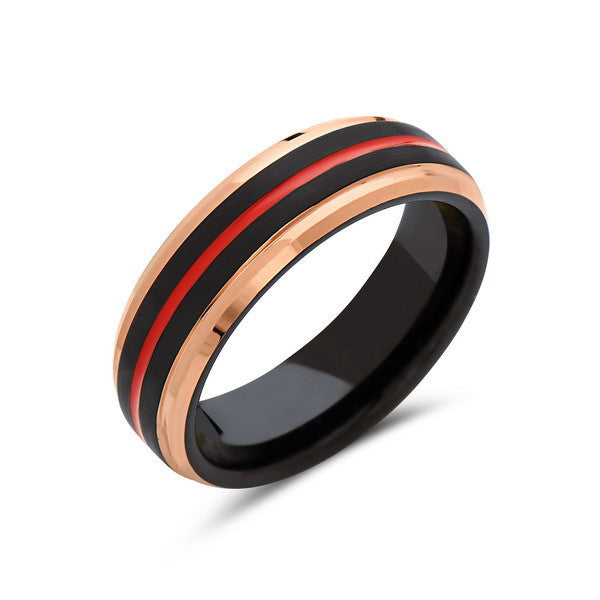 Red Tungsten Wedding Band - Rose Gold - Black Brushed Tungsten Ring - 6mm - Mens Ring - Tungsten Carbide - Engagement Band - LUXURY BANDS LA