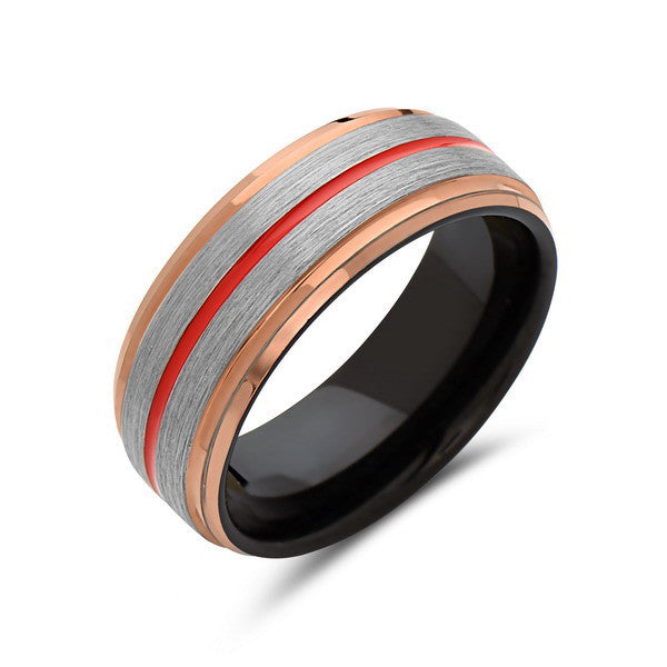 Red Tungsten Wedding Band - Rose Gold - Brushed Tungsten Ring - 8mm - Mens Ring - Tungsten Carbide - Engagement Band - Comfort Fit - LUXURY BANDS LA